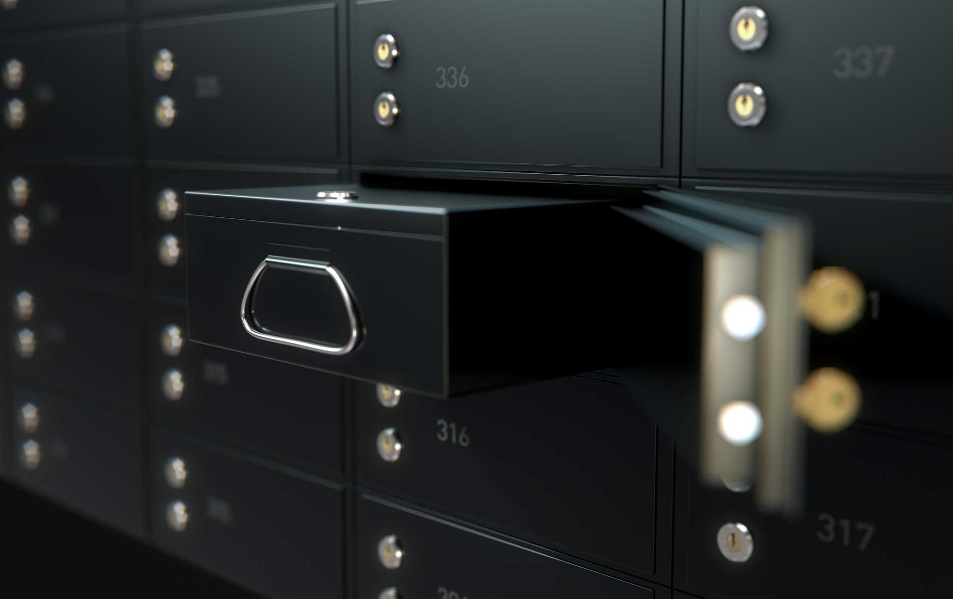 Black safety deposit box