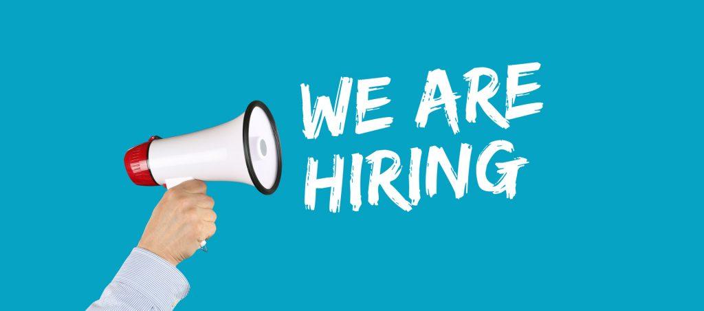 We are hiring jobs, job working recruitment employment business concept megaphone